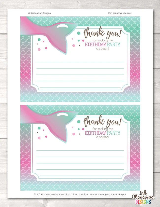 mermaid birthday party thank you cards in pink blue