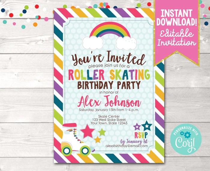 editable roller skating birthday party invitation instant download digital file