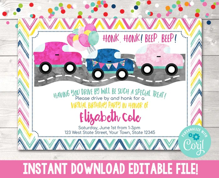 editable virtual drive by birthday parade pink birthday party invitation instant download digital file