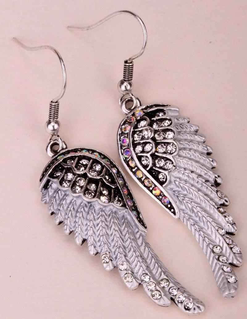 Angel Wings Dangle Earrings In Antique Gold Silver Plated