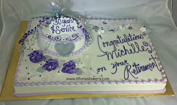 Retirement Full Sheet Cake with 8 Round Cake  Tiffanys Bakery