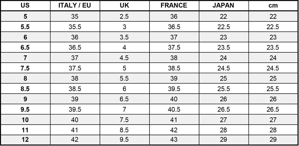 also international size chart rh jeffreycampbellshoes