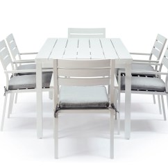 White Dining Chair Covers Australia Armrest Office Whitehaven Aluminium 6 Seat Outdoor Table And