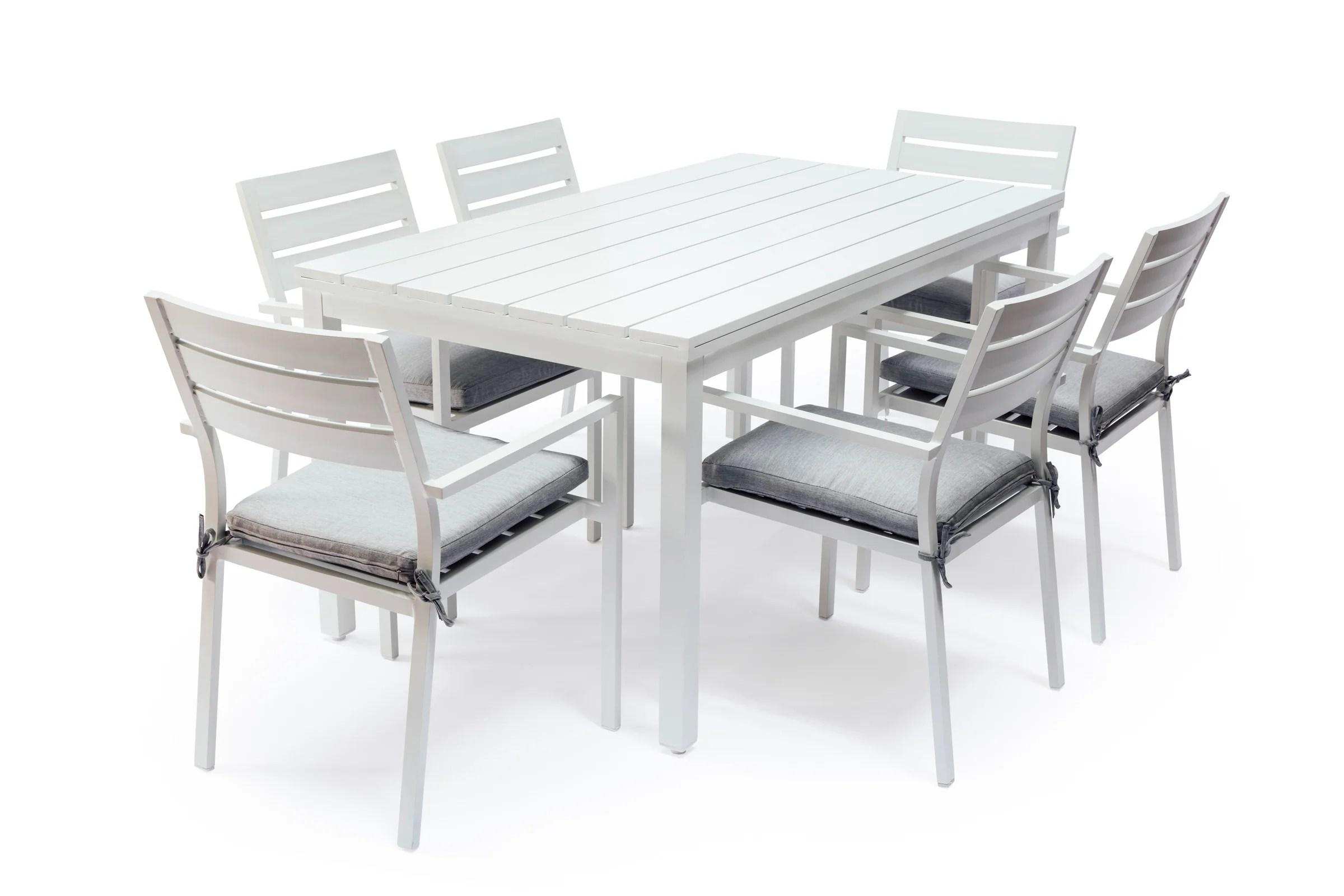 white outdoor dining chair australia bean bag gaming argos whitehaven aluminium 6 seat table and