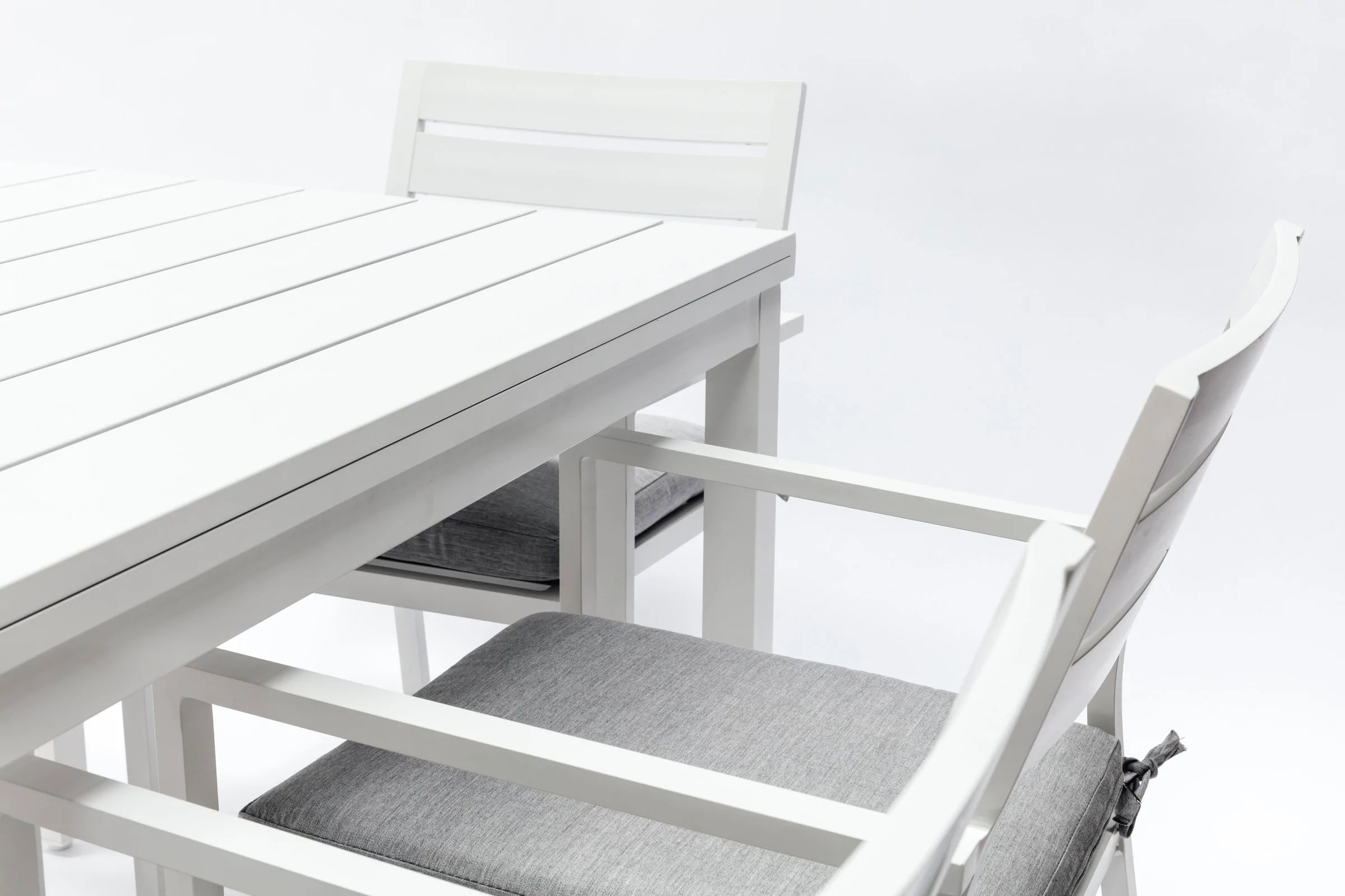 white outdoor dining chair australia victorian rail whitehaven aluminium 6 seat table and