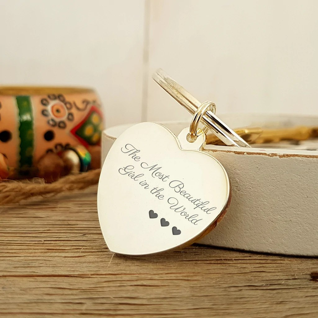 Most Beatiful Girl In The World Engraved Heart Keyring