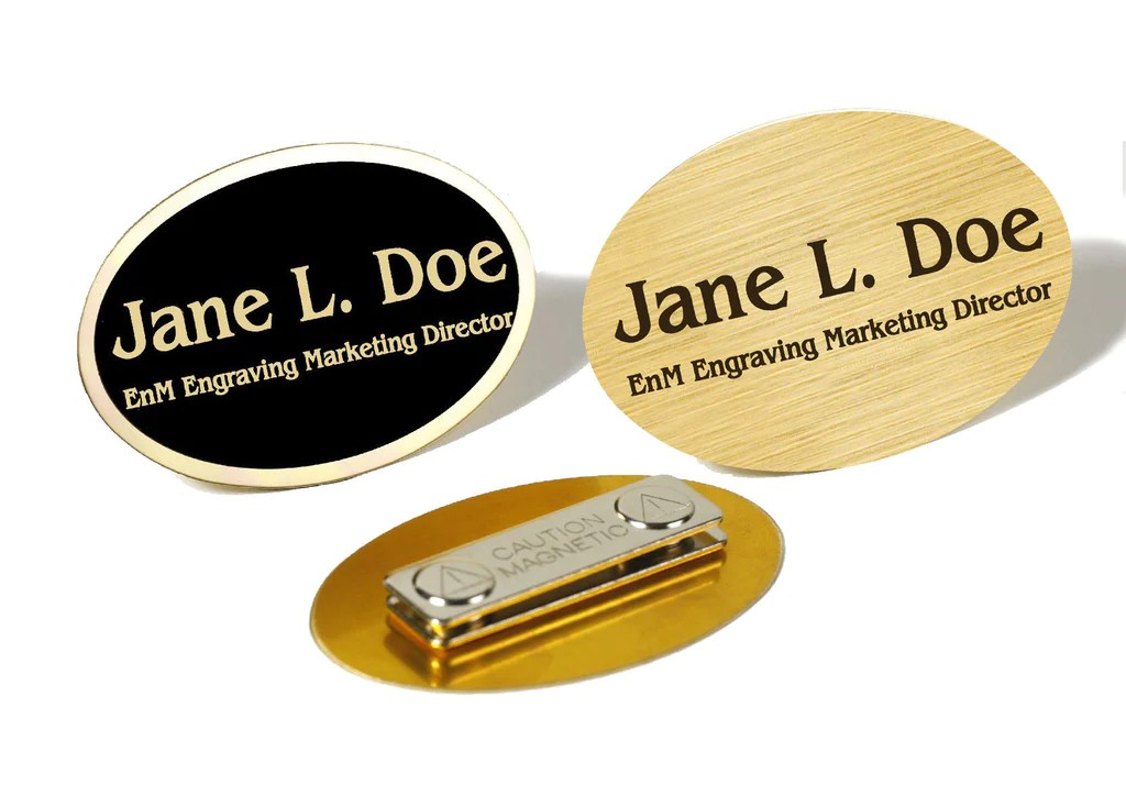Oval Brass Name Badge. Magnetic Closure – EnM Engraving