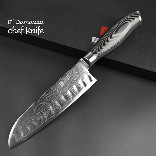 damascus kitchen knives jacksonville outdoor kitchens steel knife set 5 piece black edition warrior santoku chef