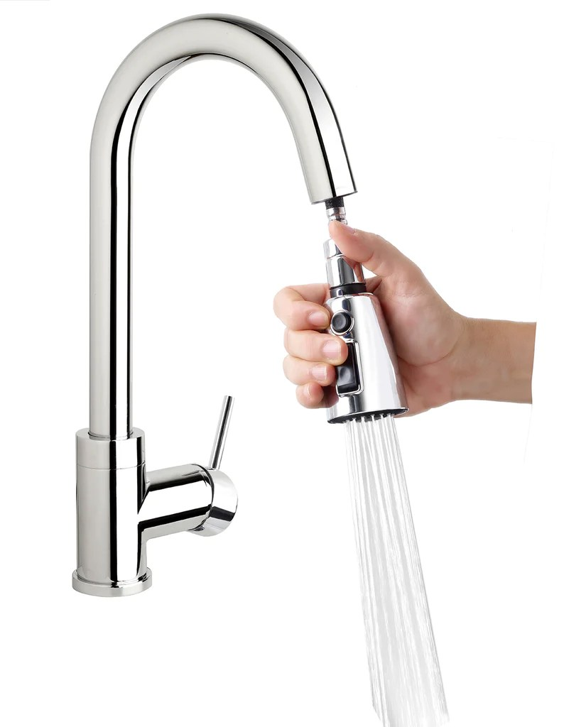 kitchen sink faucet dash high arc with pull down swivel spout pause button push