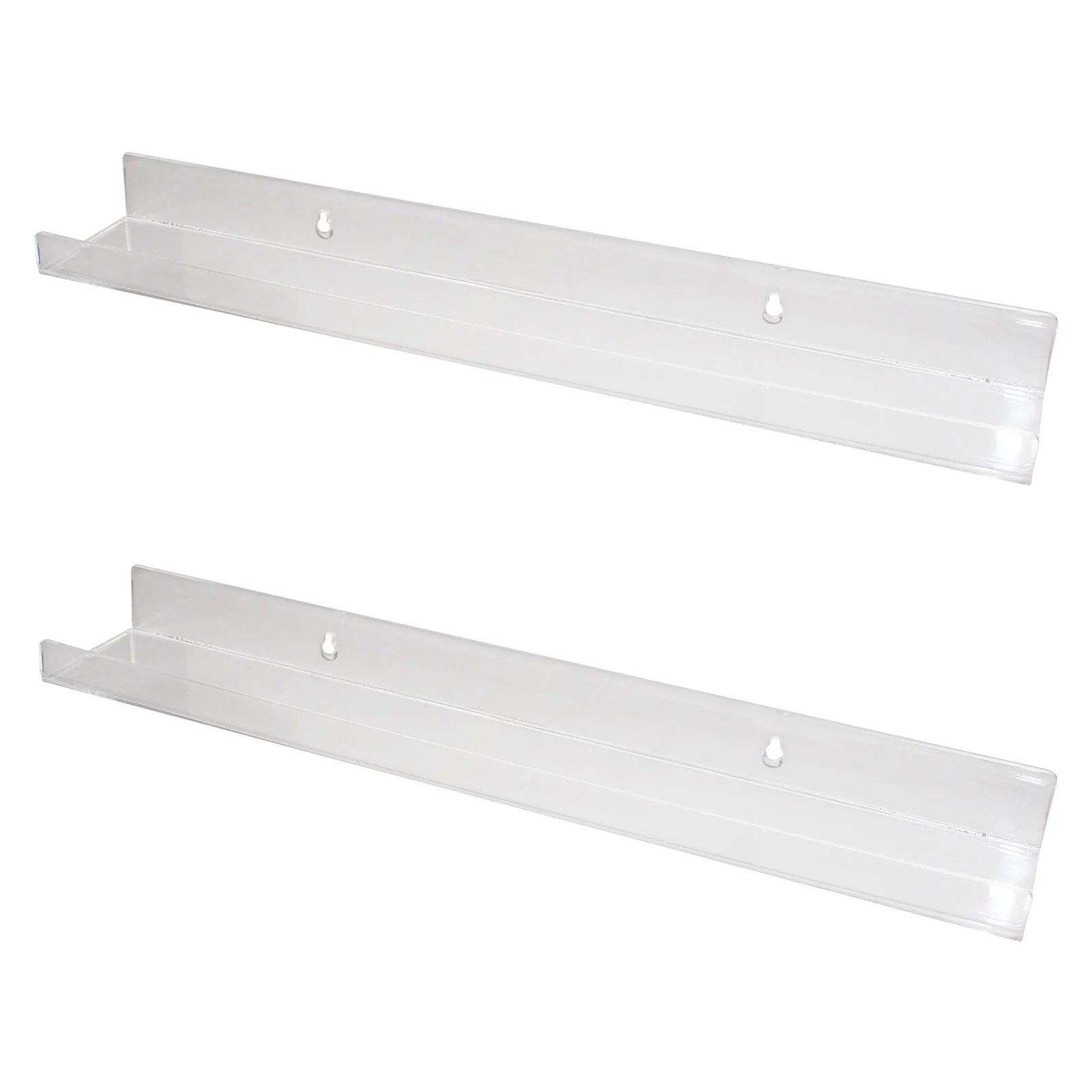 Kurtzy 2 Piece Clear Acrylic Wall Mounted Bookshelf Home