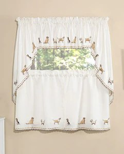 swag curtains for kitchen orange wallpaper tier dogs embroidered valance and