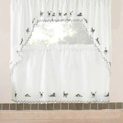 Curtains Kitchen Hell Games Tier Cats Embroidered Valance Swags And Hanging On Curtain Rods