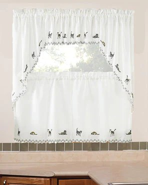 swag kitchen curtains round black table cats embroidered valance swags and tier hanging on curtain rods