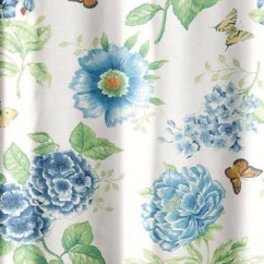 Fabric For Kitchen Curtains Kitchens With Islands Blue Floral Garden Shower Curtain By Lenox ...
