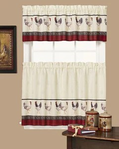 kitchen valance 6 seat table tier curtains cafe francais country rooster and hanging on curtain rods