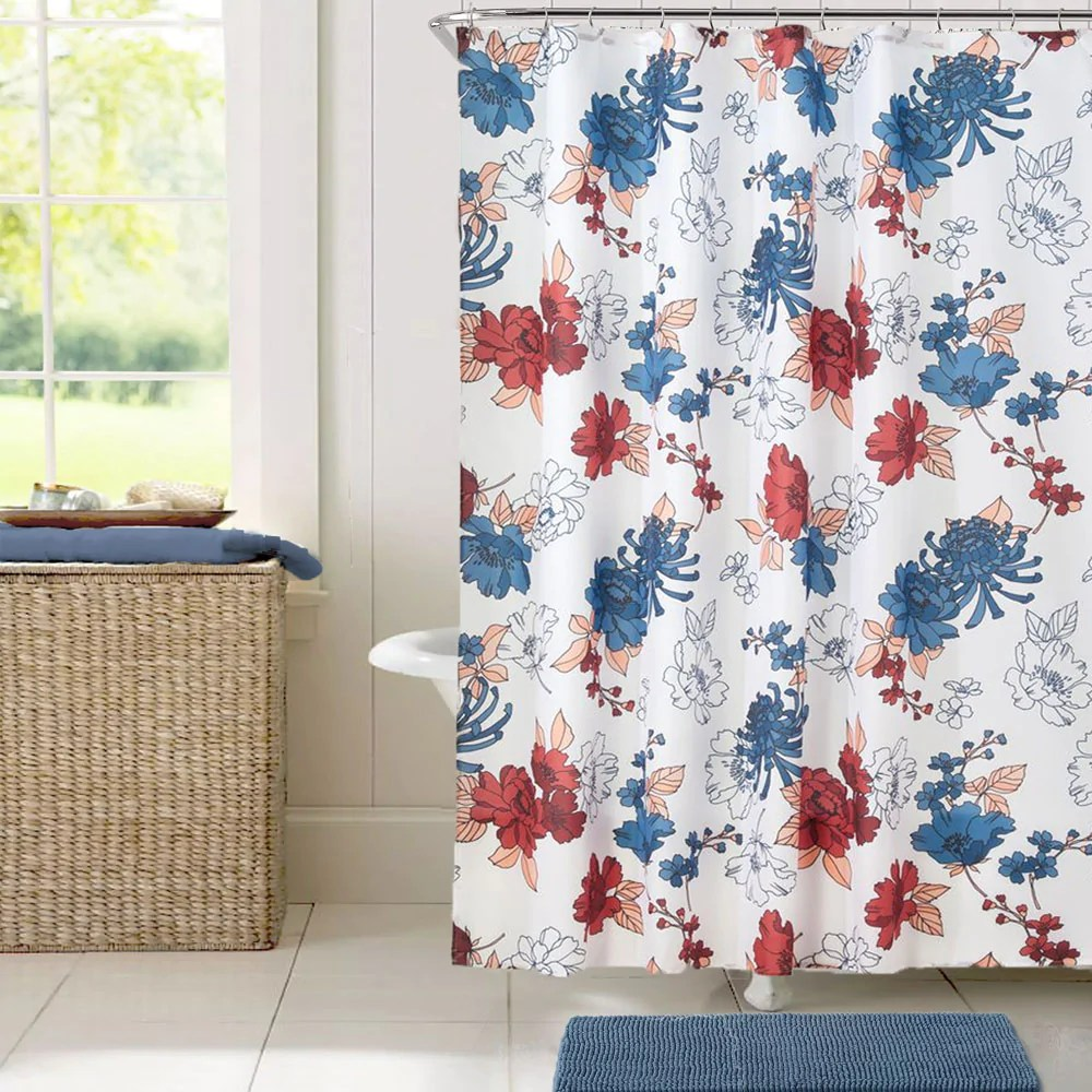 cottage floral fabric shower curtain