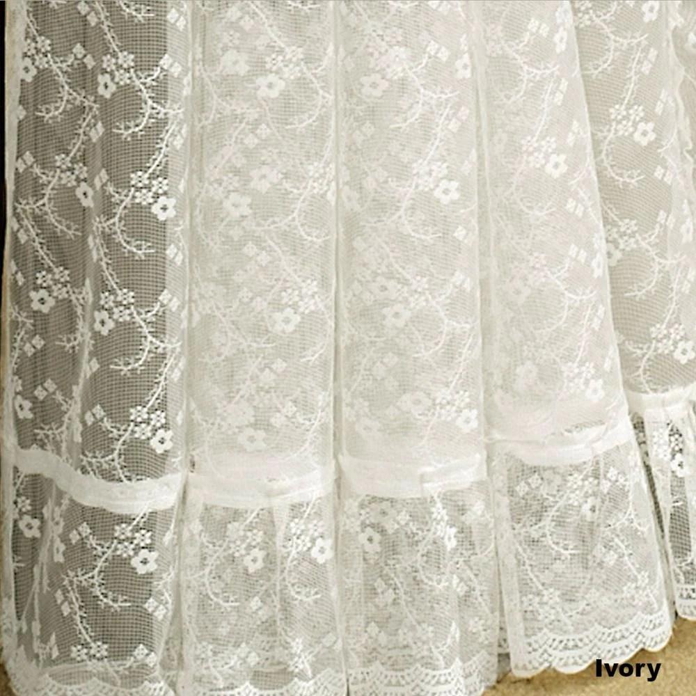 priscilla lace ruffled panel pair with tiebacks