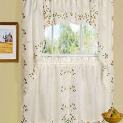 Kitchen Cafe Curtains Cabinets Santa Ana Ca Tier Linen Rosemary Valance Swags And Hanging On A Curtain Rod