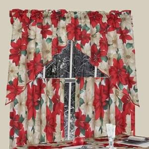 euro seasonal floral poinsettia kitchen curtain set