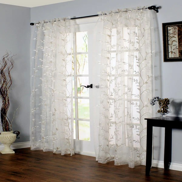 grommet kitchen curtains outdoor sets venice embroidered sheer rod pocket panel | curtainshop.com
