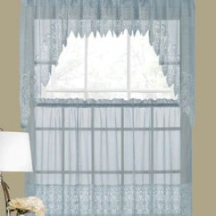 Swag Kitchen Curtains Ceramic Top Valerie Macrame Sheer Valance Swags And Tier Blue Hanging On Curtain Rods