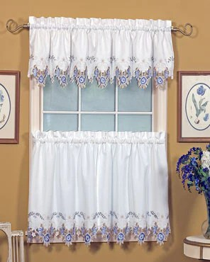 blue kitchen valance direct verona embroidered cutwork swags and tier curtains white hanging on a curtain rod