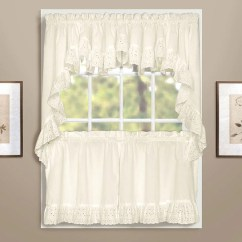 Kitchen Valance Mats Vienna Eyelet Swags And Tier Curtains White Hanging On Curtain Rods