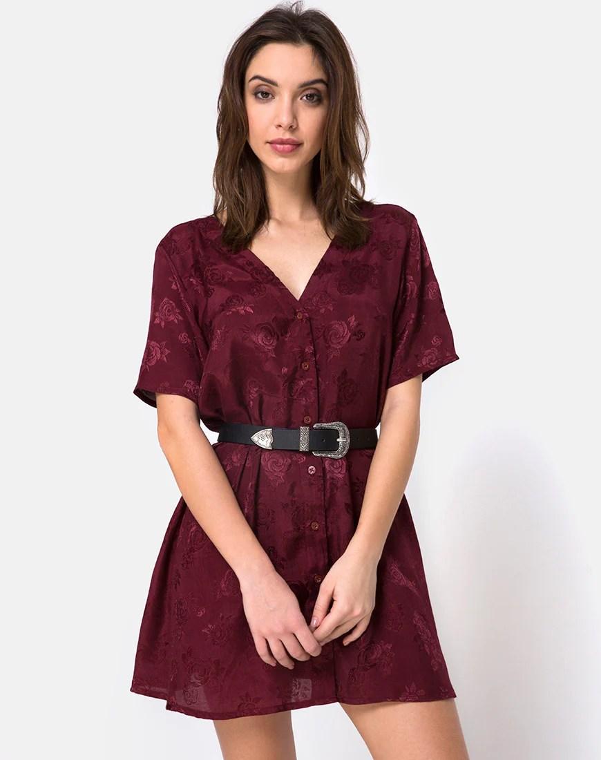 Crosena Swing Dress in Satin Burgundy Rose by Motel 2