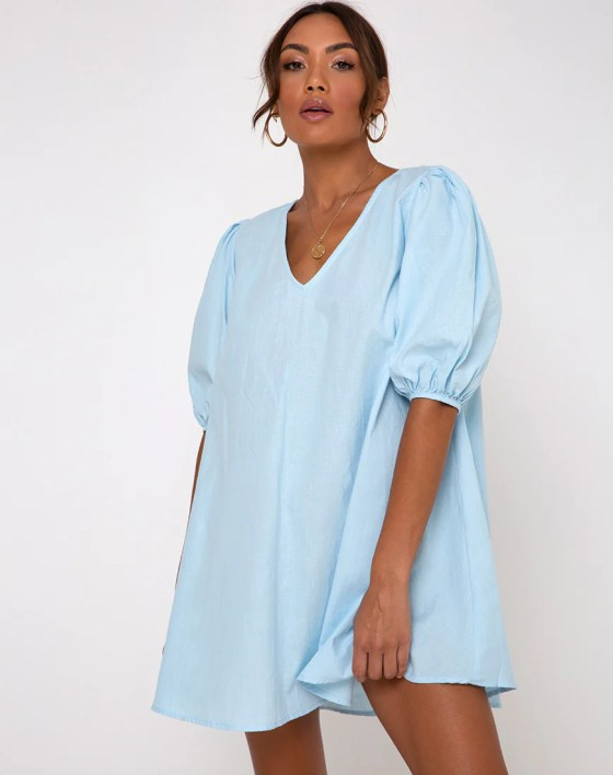 Elna Babydoll Dress in Sky Blue by Motel 9