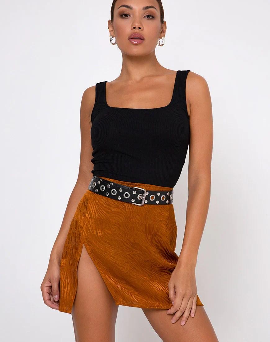 Shenka Mini Skirt in Satin Zebra Golden Coral by Motel 9