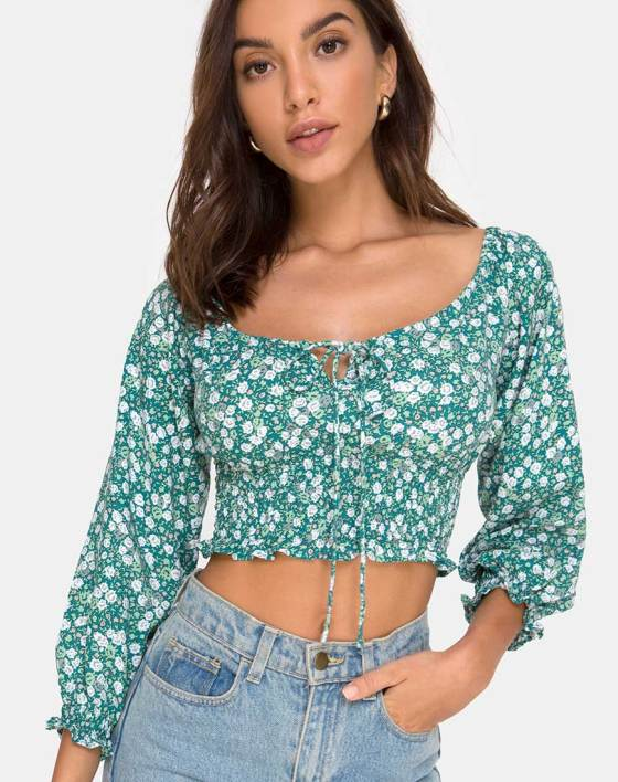 Lancer Crop Top in Floral Field Green by Motel 4
