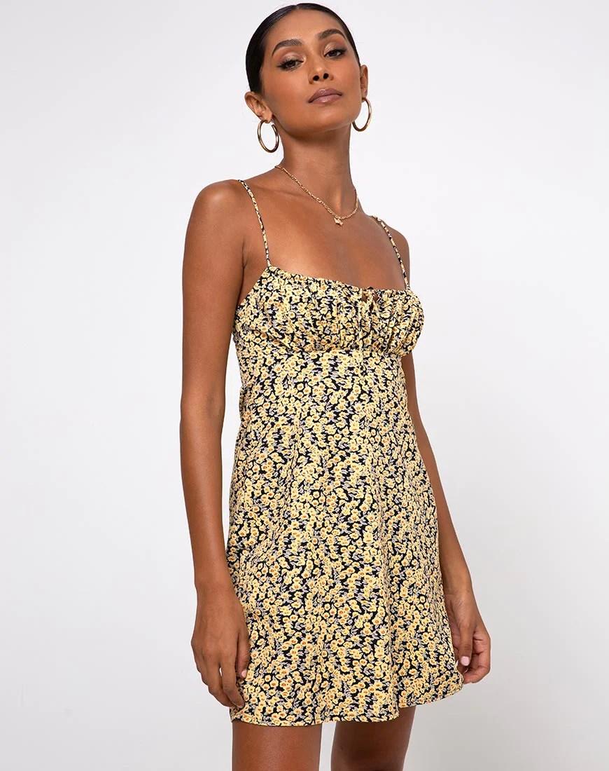 Mala Slip Dress in Mini Bloom Yellow by Motel 9