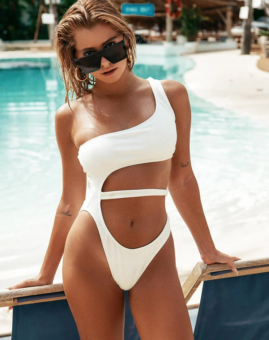 Vixie Swimsuit in White by Motel 5