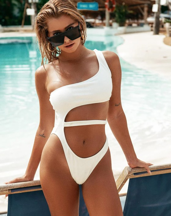Vixie Swimsuit in White by Motel 9