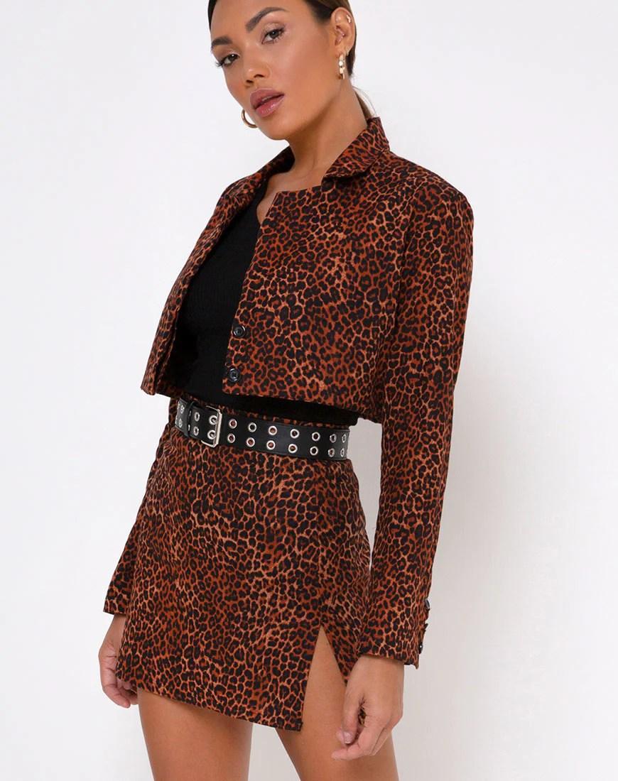 Sheny Mini Skirt in Ditsy Leopard Orange by Motel 10