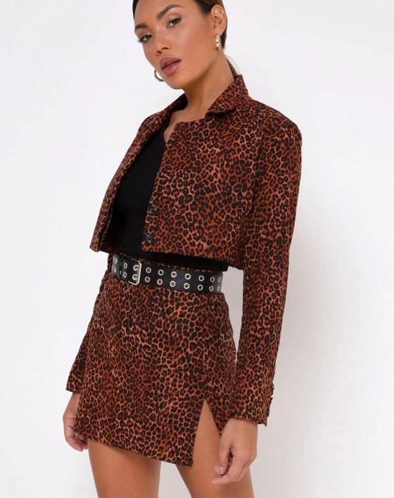 Sheny Mini Skirt in Ditsy Leopard Orange by Motel 3