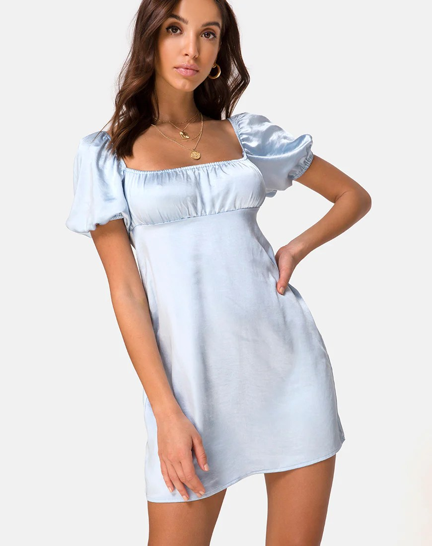 Purla Mini Dress in Satin Powder Blue by Motel 1