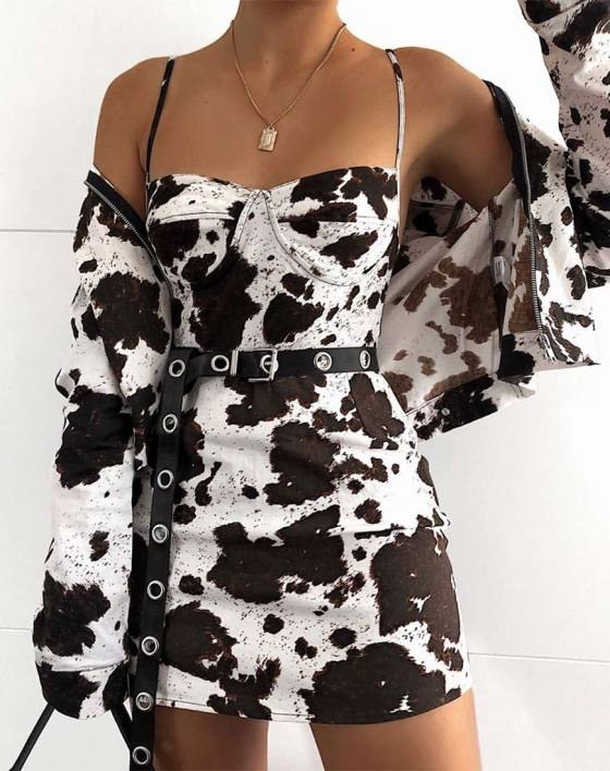 Lanti Bodice in Cow Hide Brown and White by Motel 1