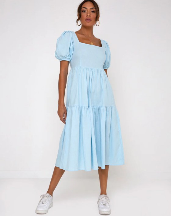 Rachel Midi Dress in Sky Blue by Motel 8