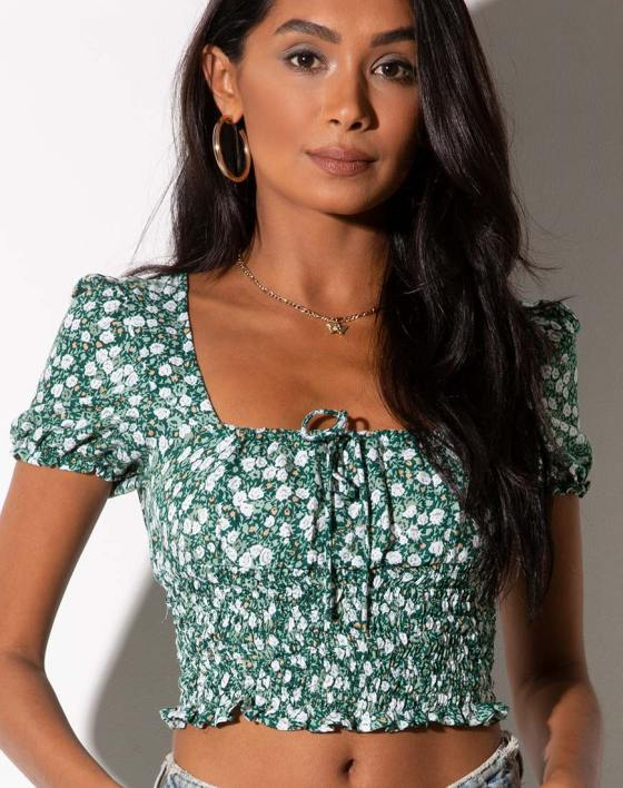 Raquel Top in Floral Field Green by Motel 5