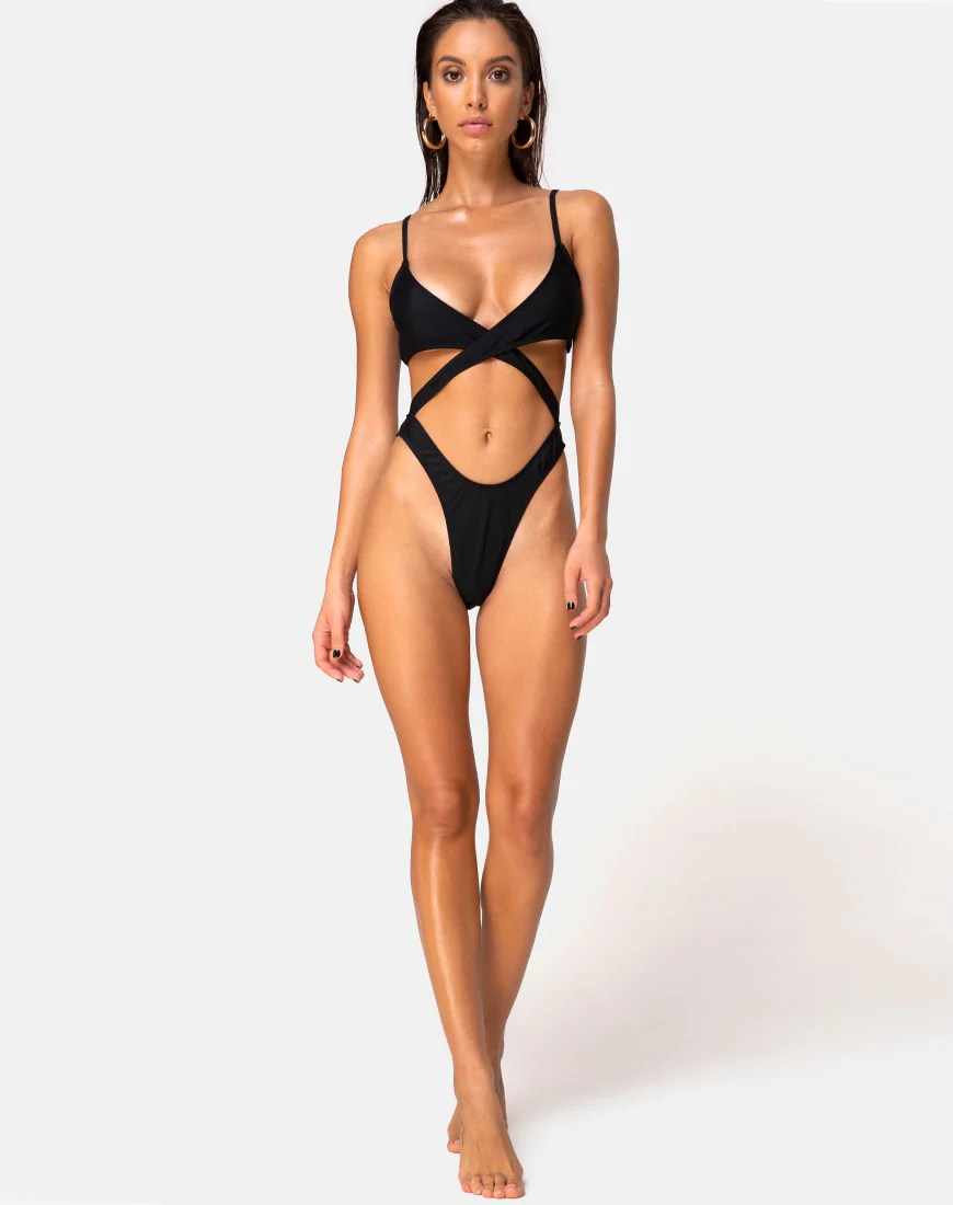 Riko Swimsuit in Matte Black by Motel
