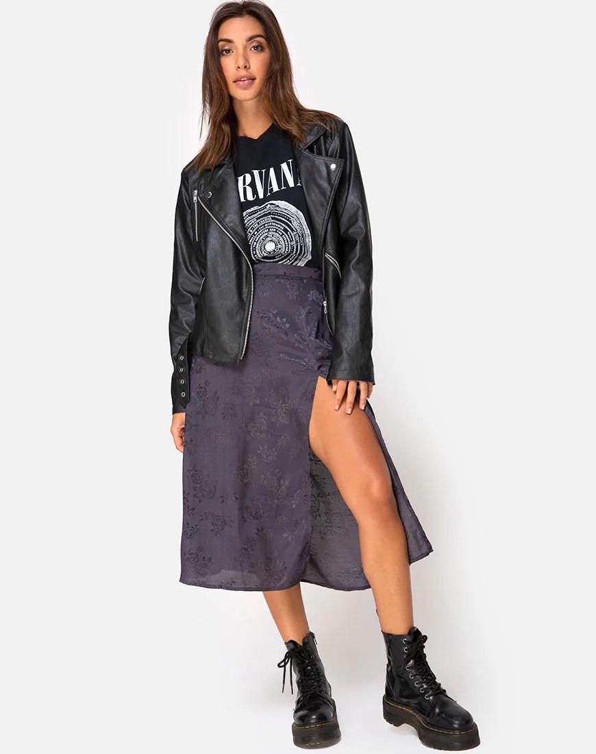 Saika Midi Skirt in Satin Rose Grey by Motel 32
