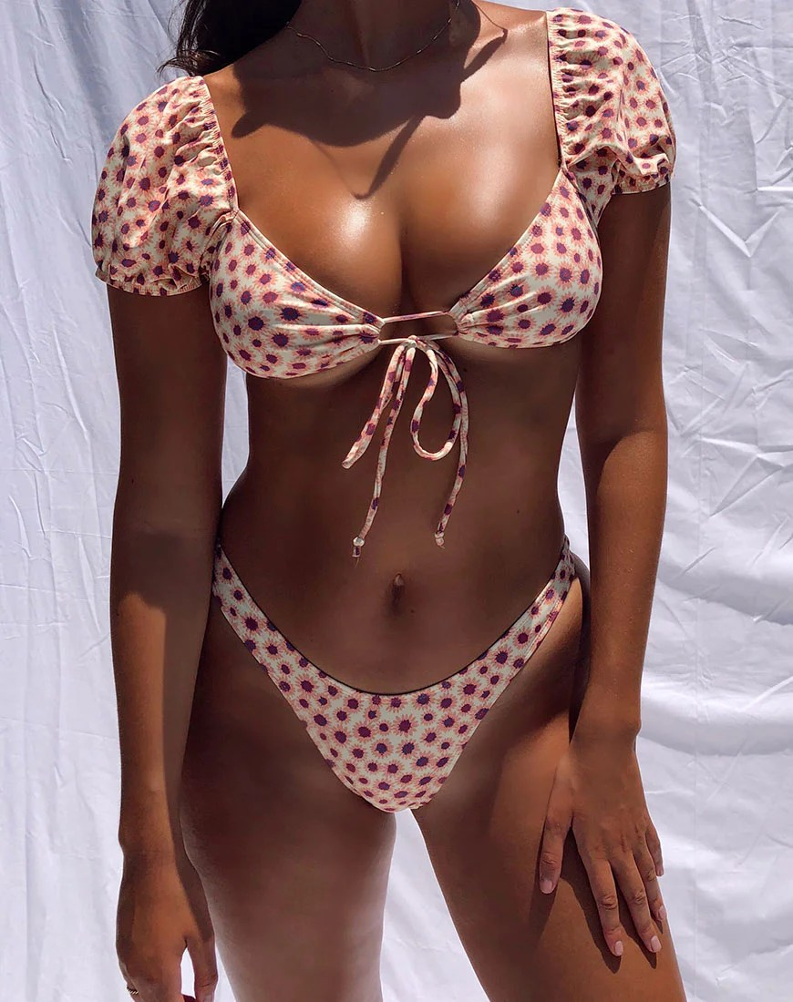 Shella Bikini Top in Ditsy Floral Yellow by Motel 1