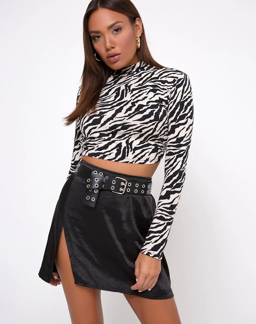 Shenka Mini Skirt in Satin Black by Motel 7