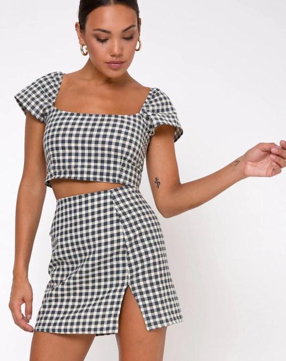 Sheny Mini Skirt in Gingham Cream by Motel 17