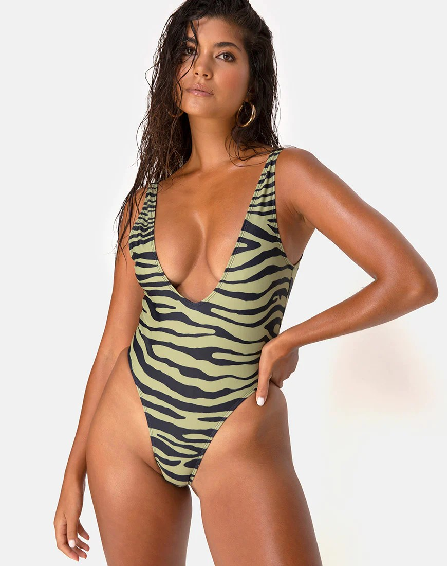 Zala Swimsuit in Tiger Khaki By Motel 23