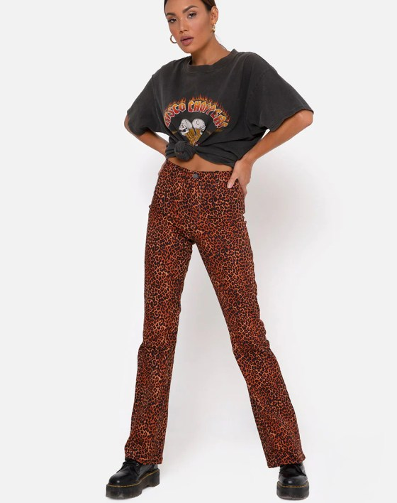 Zoven Trouser in Ditsy Leopard Orange by Motel 13