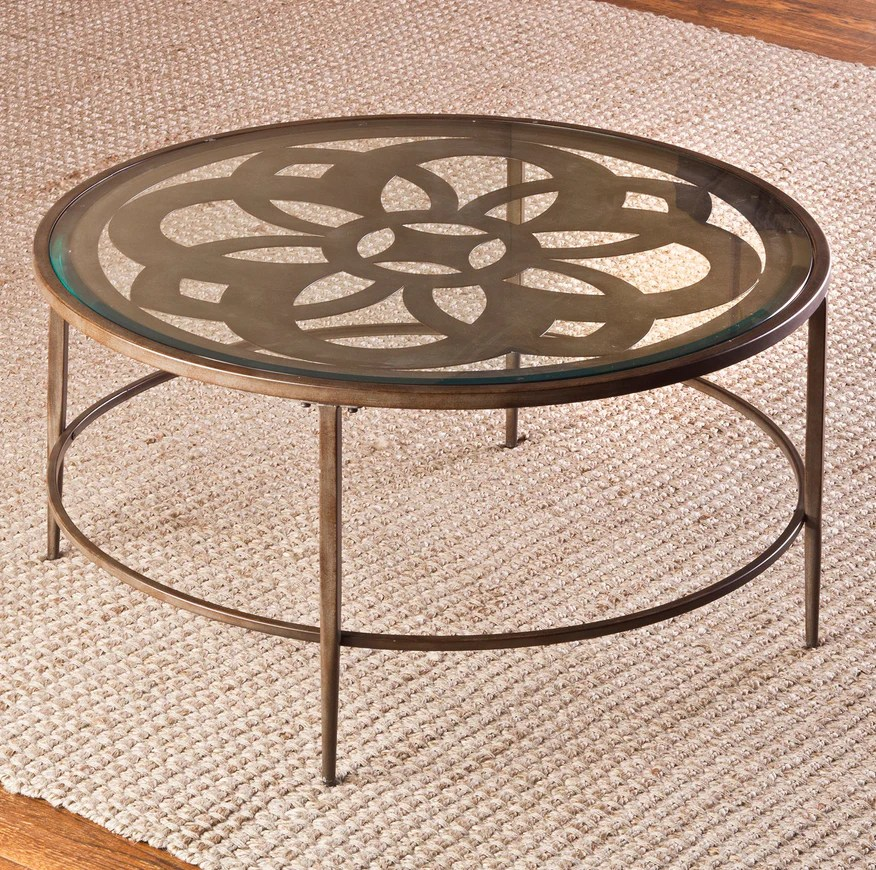 floral design metal round glass top coffee table