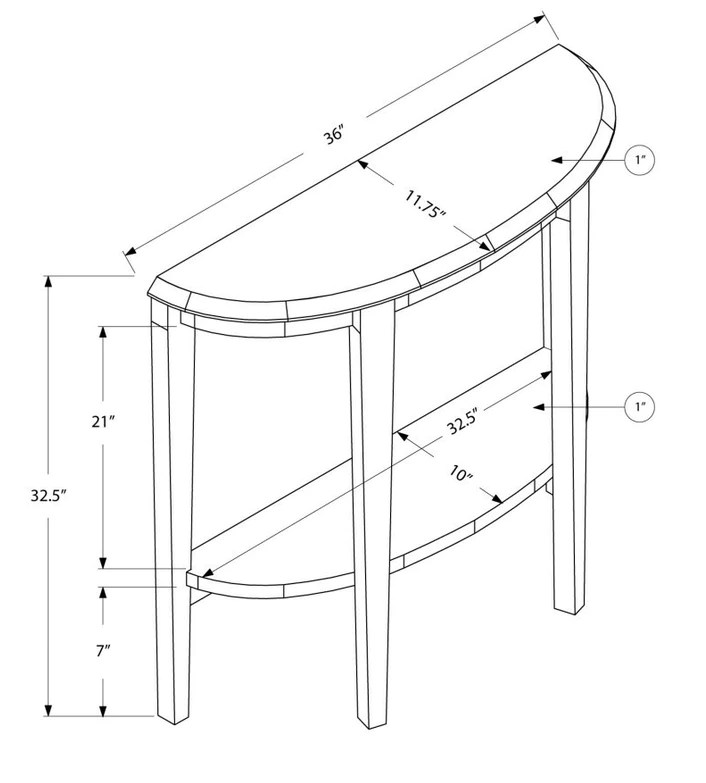 Entry Table Dimensions