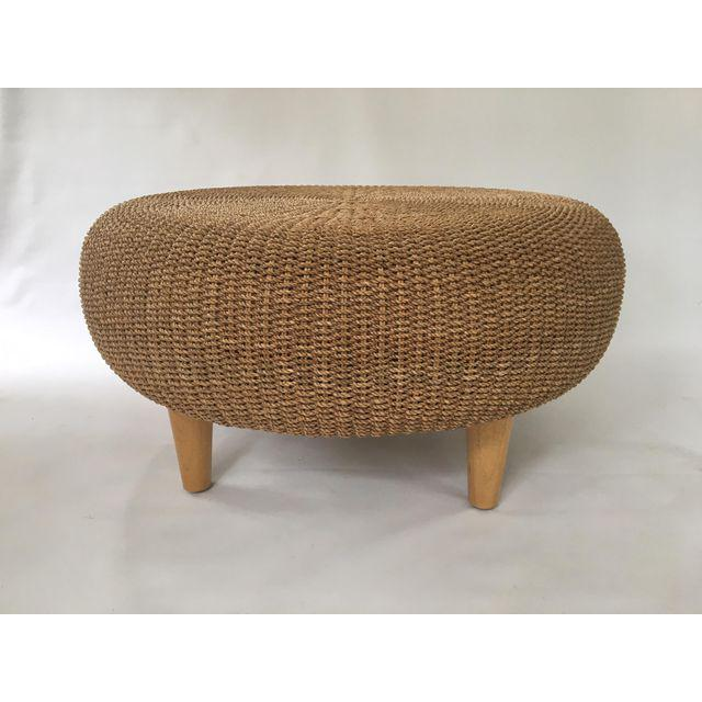 round woven rattan wicker ottoman coffee table